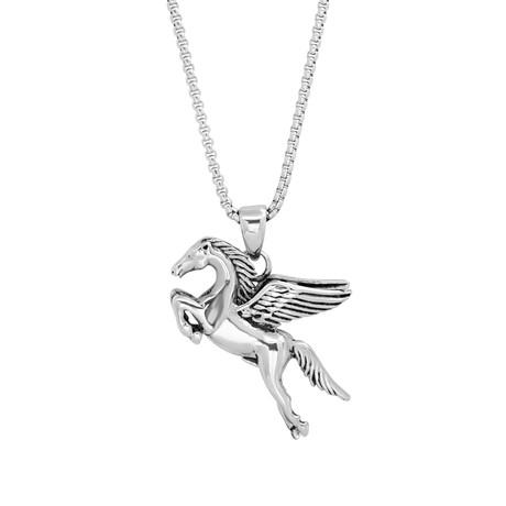 Pegasus Horse Pendant Necklace // Silver