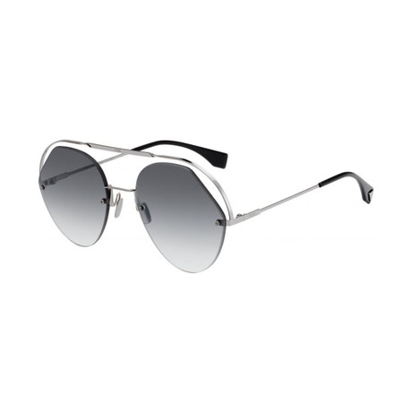 Women's Aviator Sunglasses // Silver + Gray Gradient