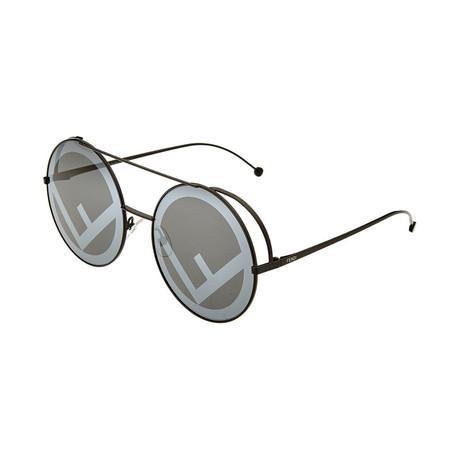 Women's Round Aviator Sunglasses // Black + Gray