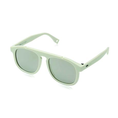 Men's Sunglasses // White + Gray Mirror