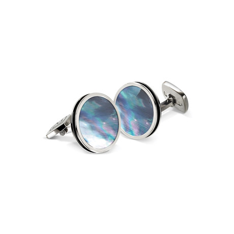 Mother Of Pearl Enamel Bordered Round Cuff Links (Gray)