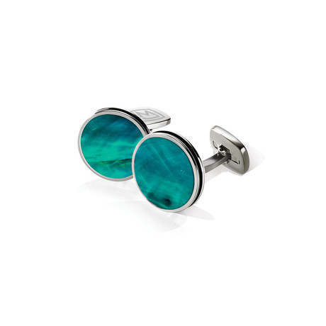 Angel Wing Enamel Bordered Round Cuff Links // Teal
