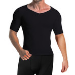 Men's Compression + Core Support Short Sleeve Shirt // Black (Small)