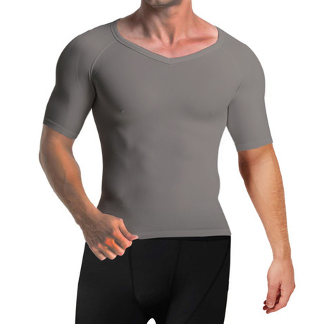 Men's Compression + Core Support Short Sleeve Shirt // Gray (Small)