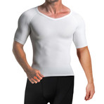 Men's Compression + Core Support Short Sleeve Shirt // White (Small)
