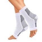 Copper-Infused Plantar Fasciitis Compression Foot Sleeves // White (Small / Medium)