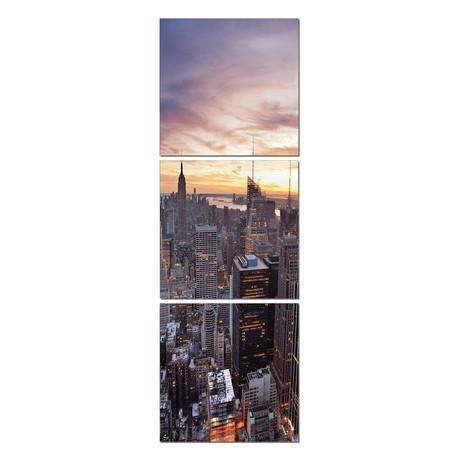 New York Sunset Vertical Triptych