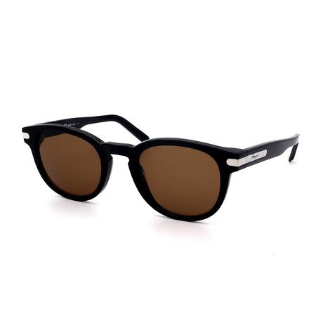 Men's SF935S-001 Round Sunglasses // Black + Silver + Brown