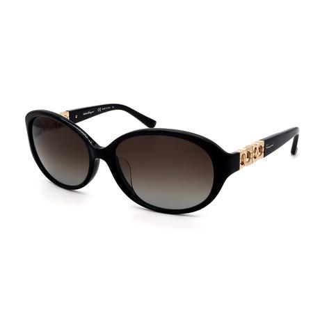 Women's SF736SA-001 Oval Sunglasses // Shiny Black + Gray