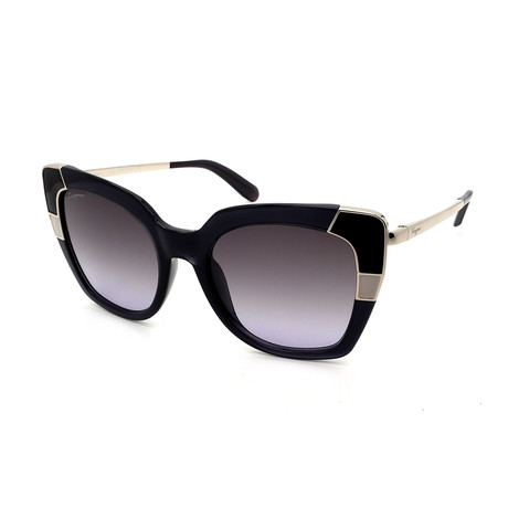Women's SF889S-057 Rectangle Sunglasses // Black Crystal Gray + Gray