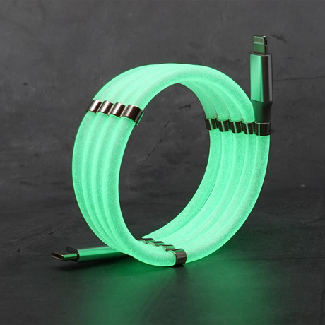 Anti-Tangle Cable // USB-C to Lightning // Glow in the Dark (USB-C to Lightning // 3.3 ft)