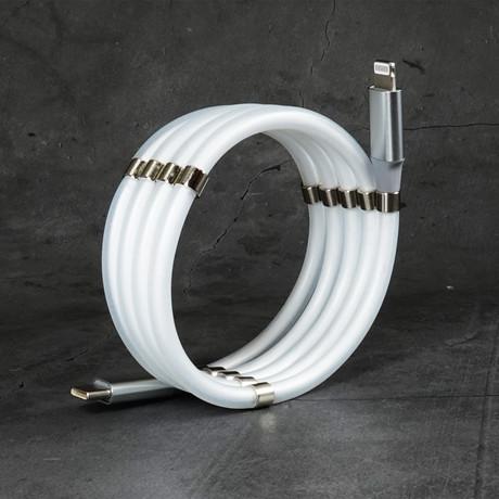 Anti-Tangle Cable // USB-C to Lightning //  Smoke White (USB-C to Lightning // 3.3 ft)