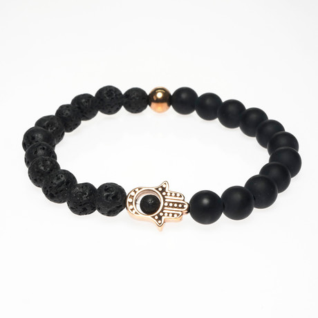 Jean Claude Jewelry // Beaded Bracelet // Black + Gold