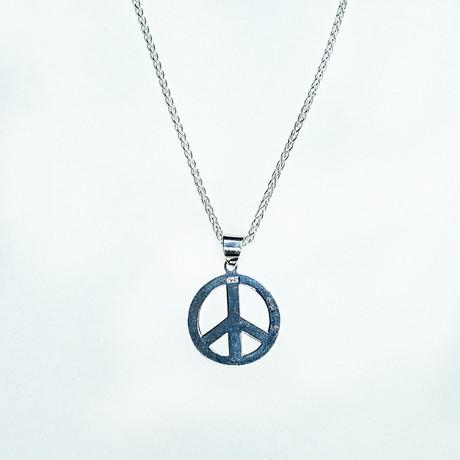 Dell Arte // Sterling Silver Peace Pendant + Chain // Silver