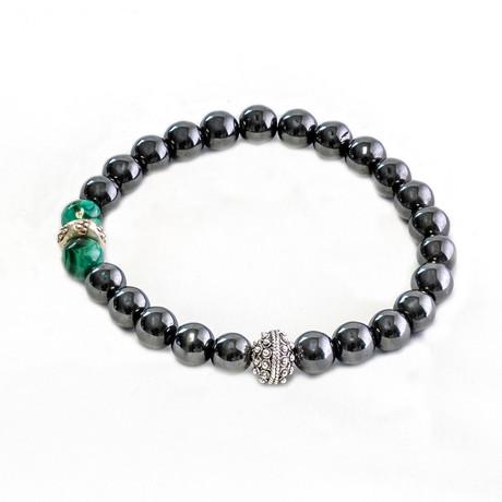 Dell Arte // Hematite + Malachite Mix Beaded Bracelet // Silver + Green
