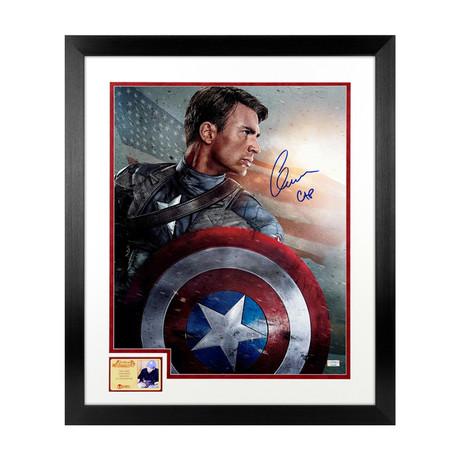 Chris Evans // Autographed Captain America The First Avenger Framed Photo