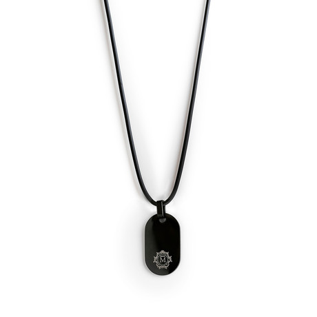 Silicone Round Tag Necklace // Black