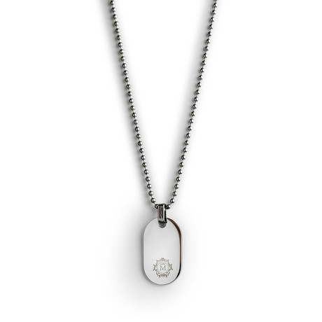 Steel Round Tag Necklace // Silver