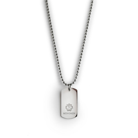 Steel Engraved Tag Necklace // Silver
