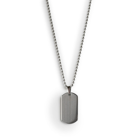Steel Tag Necklace // Silver