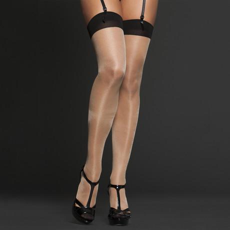 iCollection // Cuban Heel Silicon Top Tights // Nude