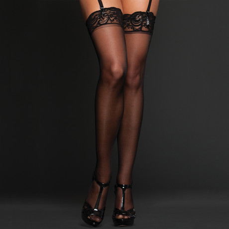 iCollection // Sheer Lace Top Tights // Black