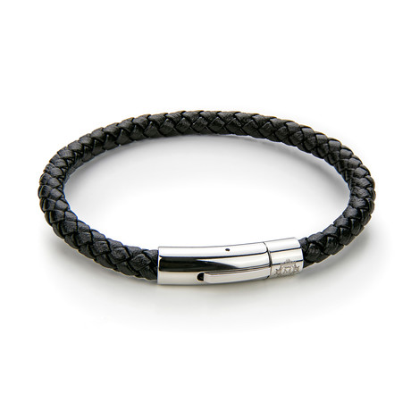 Braided Leather Bracelet (Black + Silver)
