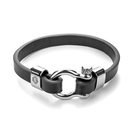 Leather Bracelet (Black + Silver)