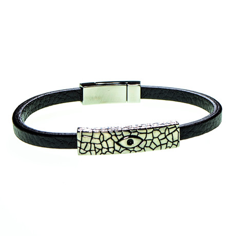 Dell Arte // Leather + Stainless Steel Band Bracelet // Black + Silver