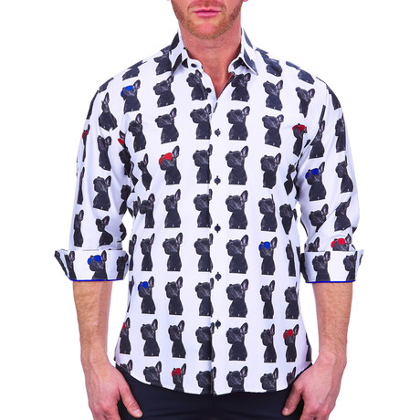 Fibonacci Cool Dog Dress Shirt // White (S)