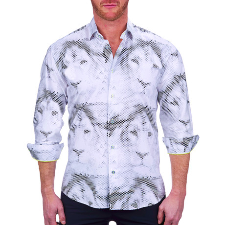 Fibonacci Lion Dot Dress Shirt // White (S)