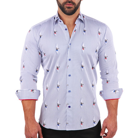 Fibonacci Curious pug Dress Shirt // White (S)