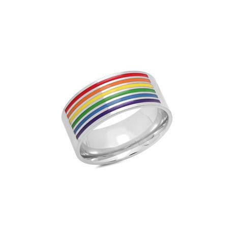 Enamel Band Ring // Silver + Rainbow (Size 9)