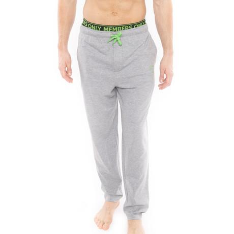 Heather Contrast Logo Sleep Pant // Gray + Green (S)