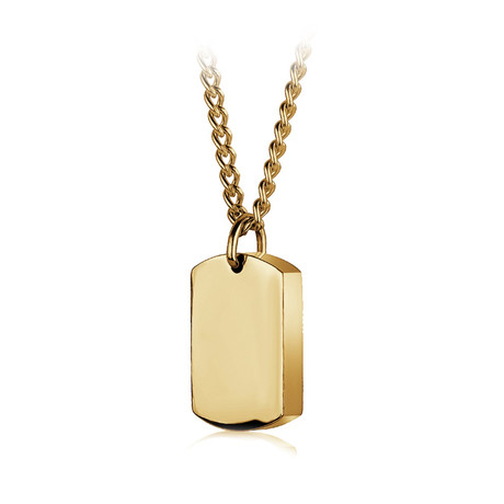 Stainless Steel Polish Brush Reversible Pendant Necklace // Gold Plating