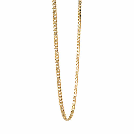 """Stainless Steel Polished Curb Chain // Gold Plating (22"""")"""