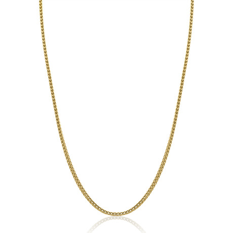 """Stainless Steel Round Franco Polished Necklace // Gold Plating // 3.5mm (20"""")"""