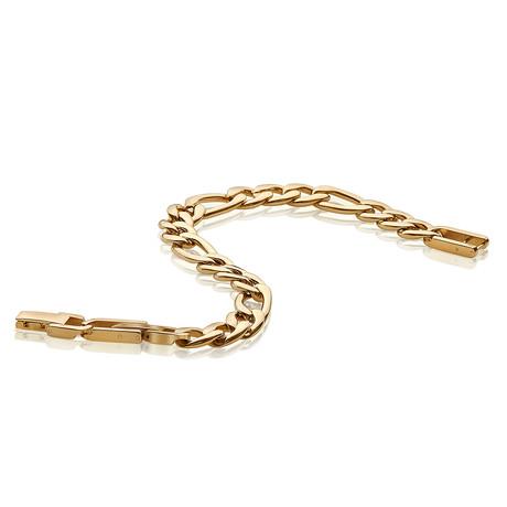 Stainless Steel Figaro Link Bracelet // Gold Plating