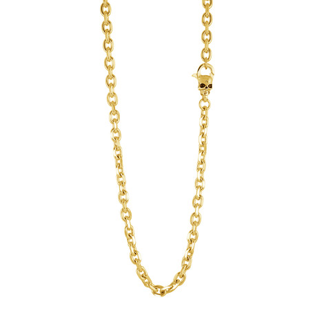 """Stainless Steel Shiny Oval Link Skull Clasp Necklace // Gold Plating (22"""")"""