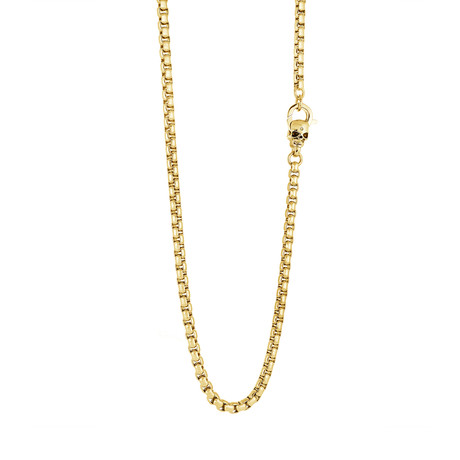 """Stainless Steel Shiny Round Box Link Skull Clasp Necklace // Gold Plating (22"""")"""