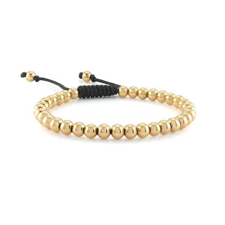 Stainless Steel + Beads Macrame Bracelet // Gold Plating