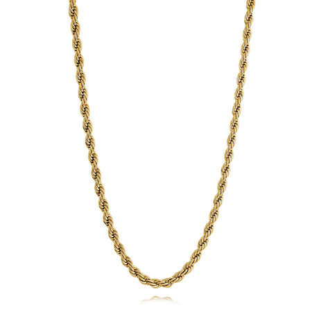 """Stainless Steel Polished Rope Necklace // Gold Plating (22"""")"""