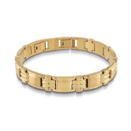 Stainless Steel Polished Brush Link Bracelet // Gold Plating