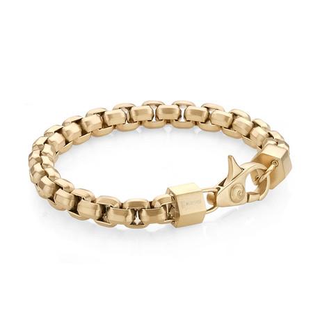 Matte Stainless Steel Hexagon Box Link Bracelet // Gold Plating
