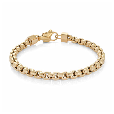 Stainless Steel Polished Hexahedron Bracelet // Gold Plating