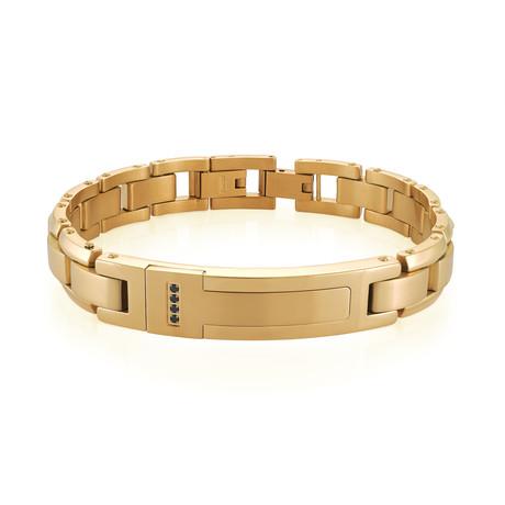 Stainless Steel Brushed Centre Link Bracelet // Gold Plating