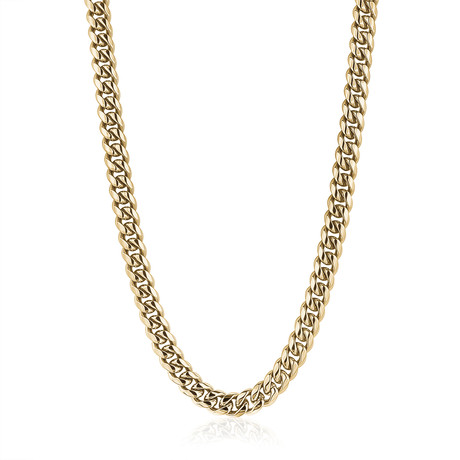 "Stainless Steel Cuban Link Polished Necklace // Gold Plating (24"")"