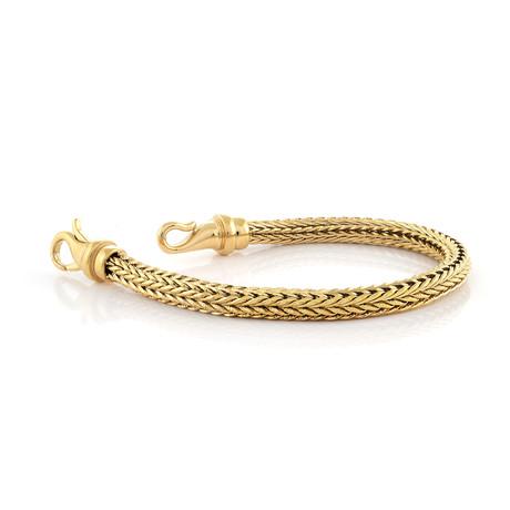 Stainless Steel Byzantine Design Clasp Bracelet // Gold Plating