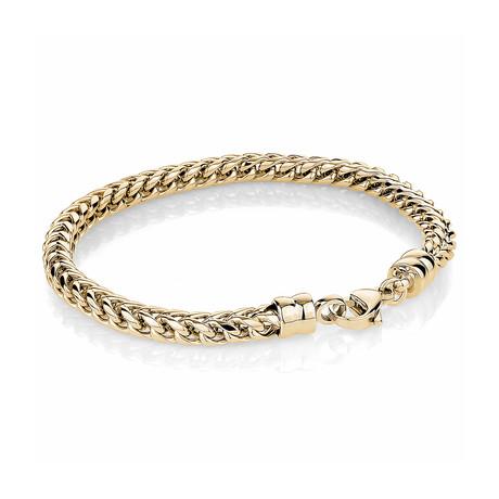 Stainless Steel Round Franco Polished Bracelet // Gold Plating