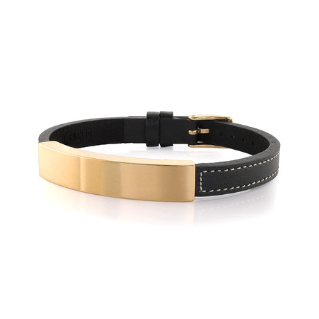 Stainless Steel ID Plate Leather Bracelet // Gold Plating